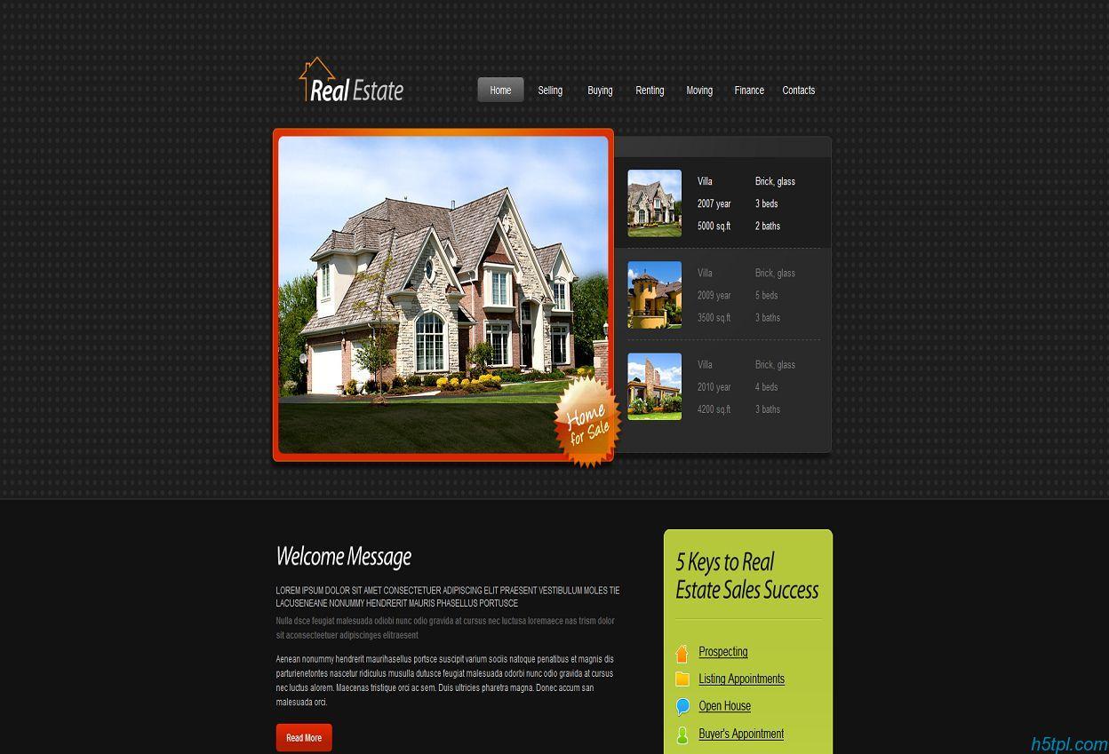 房屋出售企业网站模板_黑色_html5_房屋