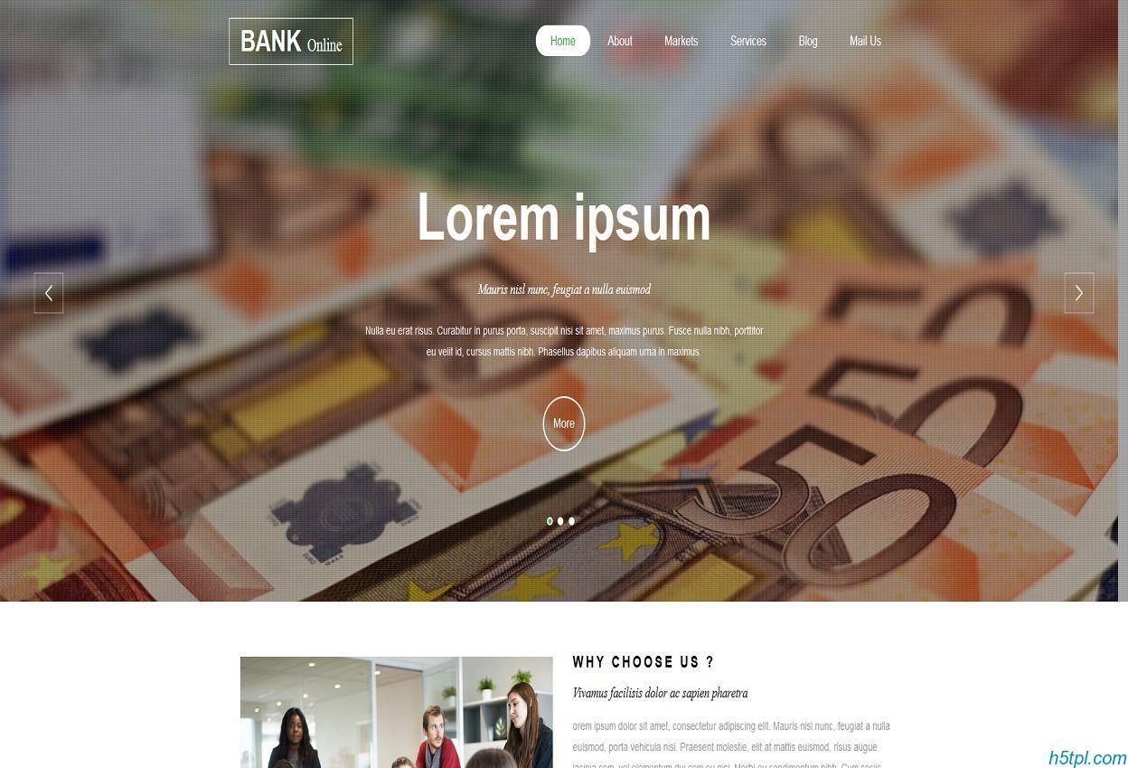 银行理财HTML5网站模板是一款适合银行货币基金公司单页模板