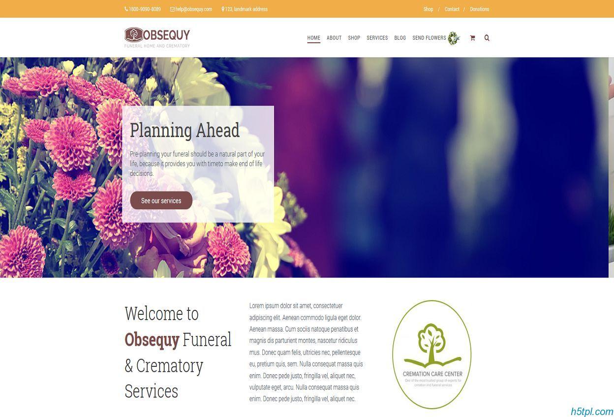 殡仪馆丧事服务网站模板是一款响应式HTML5网站模板