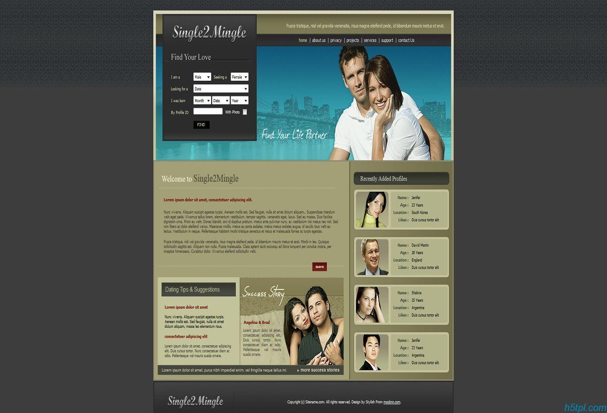 个性婚恋交友类型网页CSS模板
