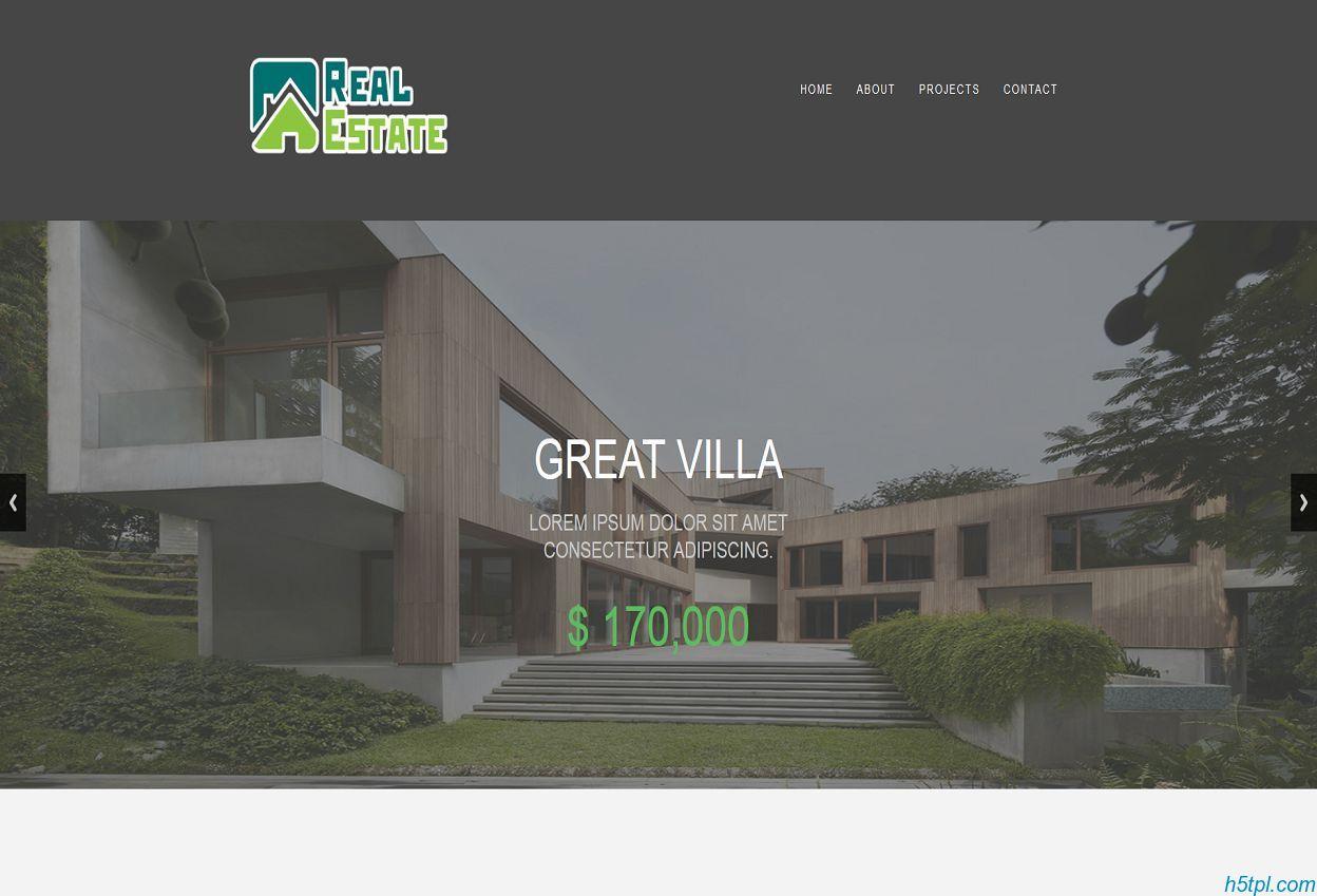 别墅楼盘展示HTML5模板里面包含5个子页面,适合房地产公司网站模板