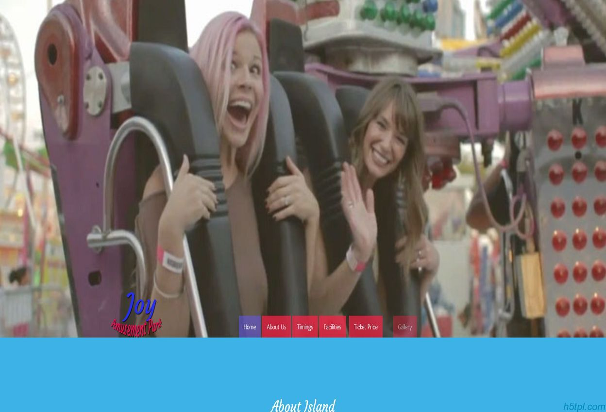 快乐游乐园HTML5网页模板是一款大气扁平风格的儿童游乐园网站模板