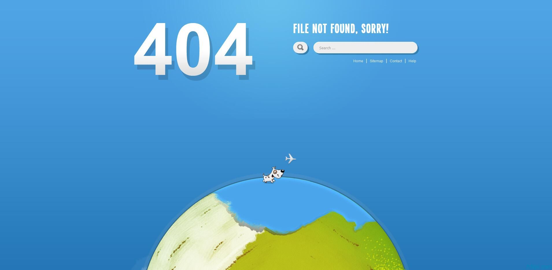 小狗绕地球奔跑404页面是一款可爱的小动物在旋转的地球上奔跑404网站错误页面