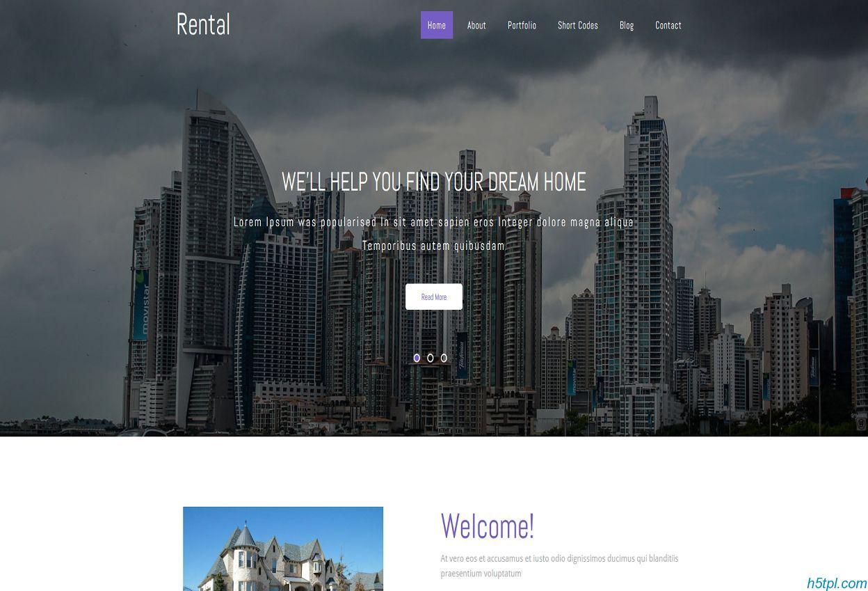 租赁房地产企业网站模板是一款大气整洁风格的HTML5房产相关网站模板