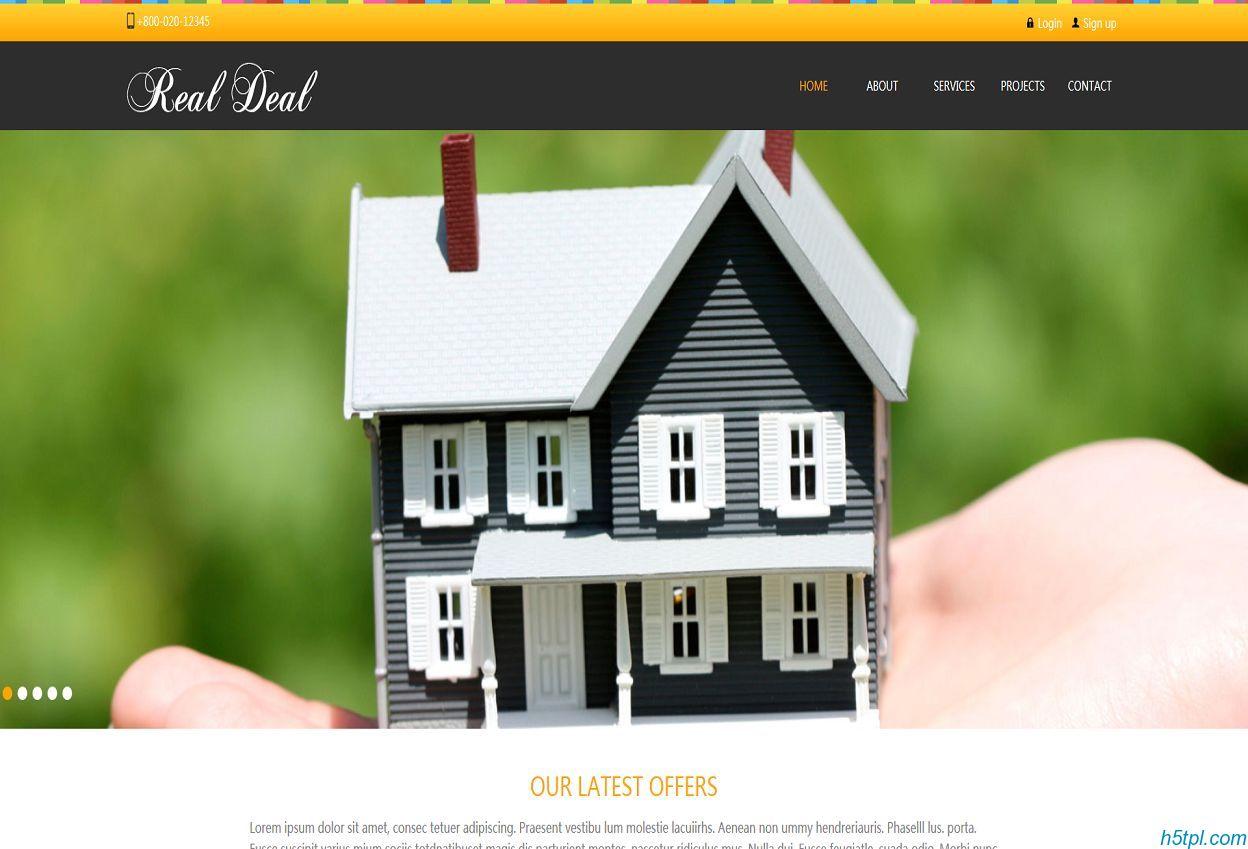 别墅房子销售公司模板是一款房地产开发售楼公司网站模板