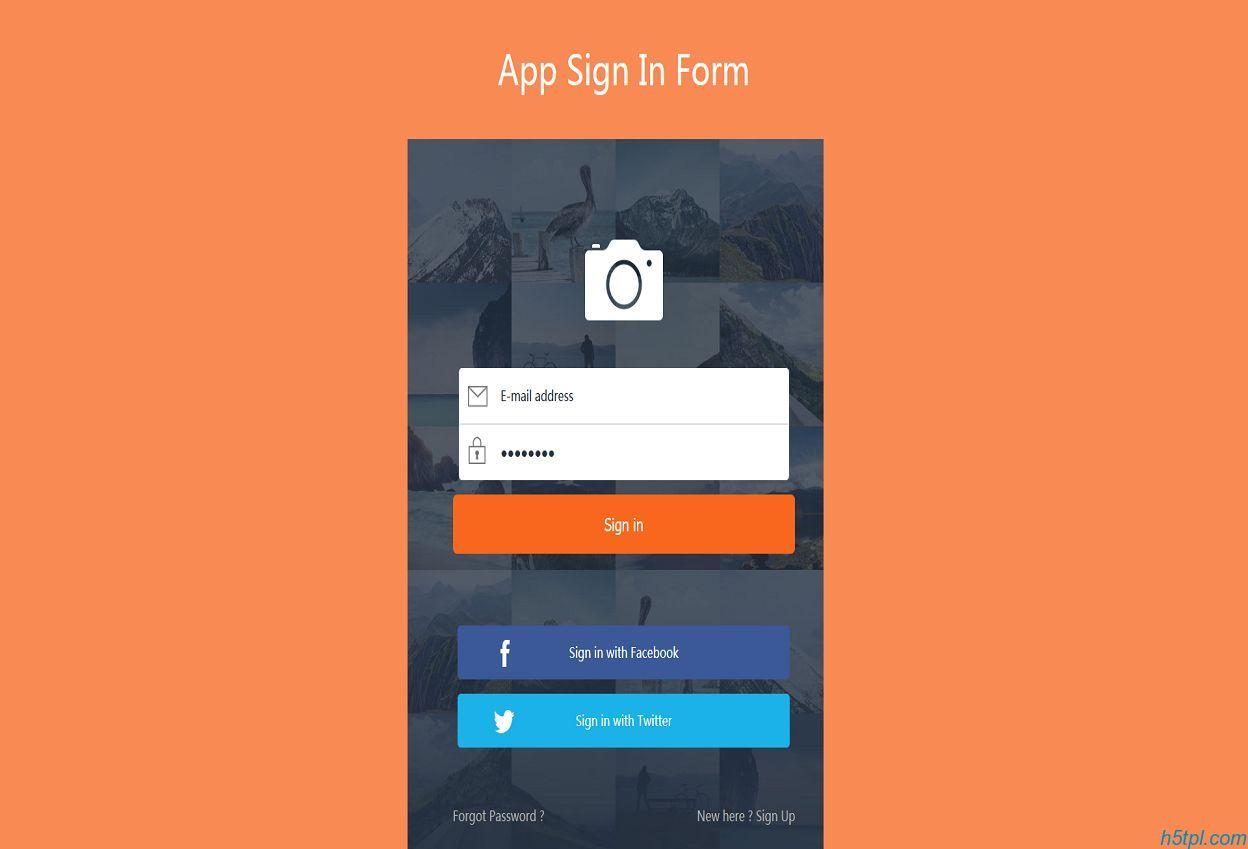 橙色背景CSS登陆页面模板是一款适合前台会员登陆框网页模板