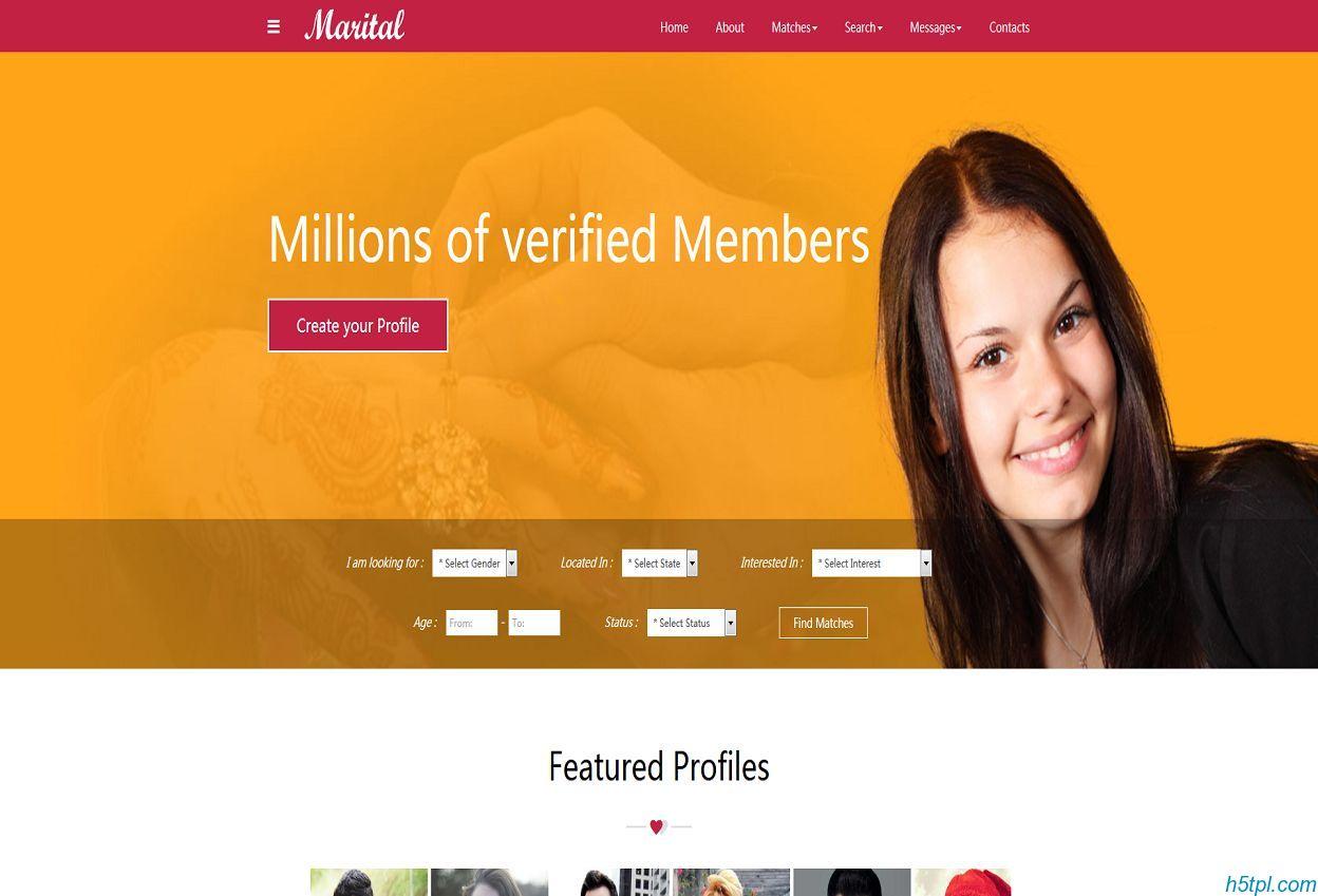 相亲交友类网站模板是一款html5模板,适合情感交友,婚介网站模板下载