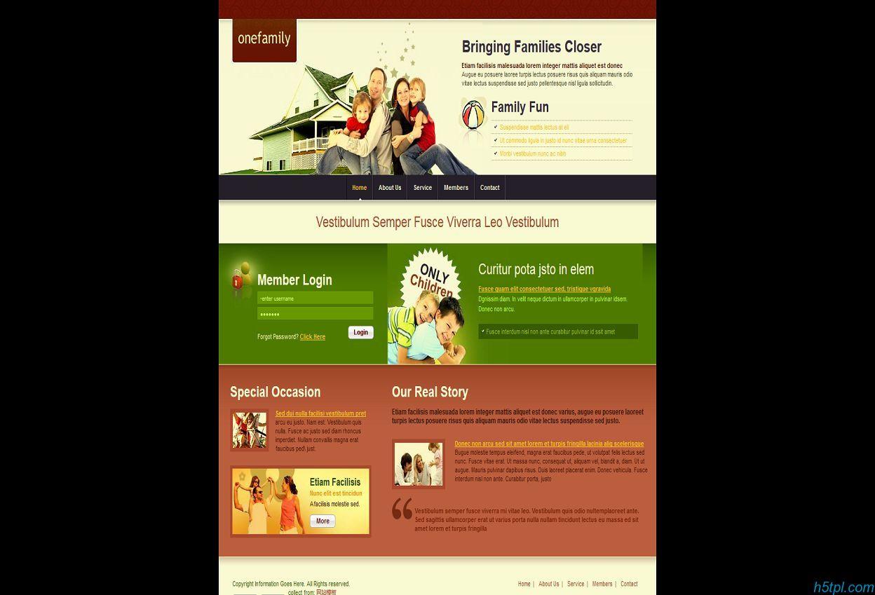 绿色和谐家庭儿童网站模板