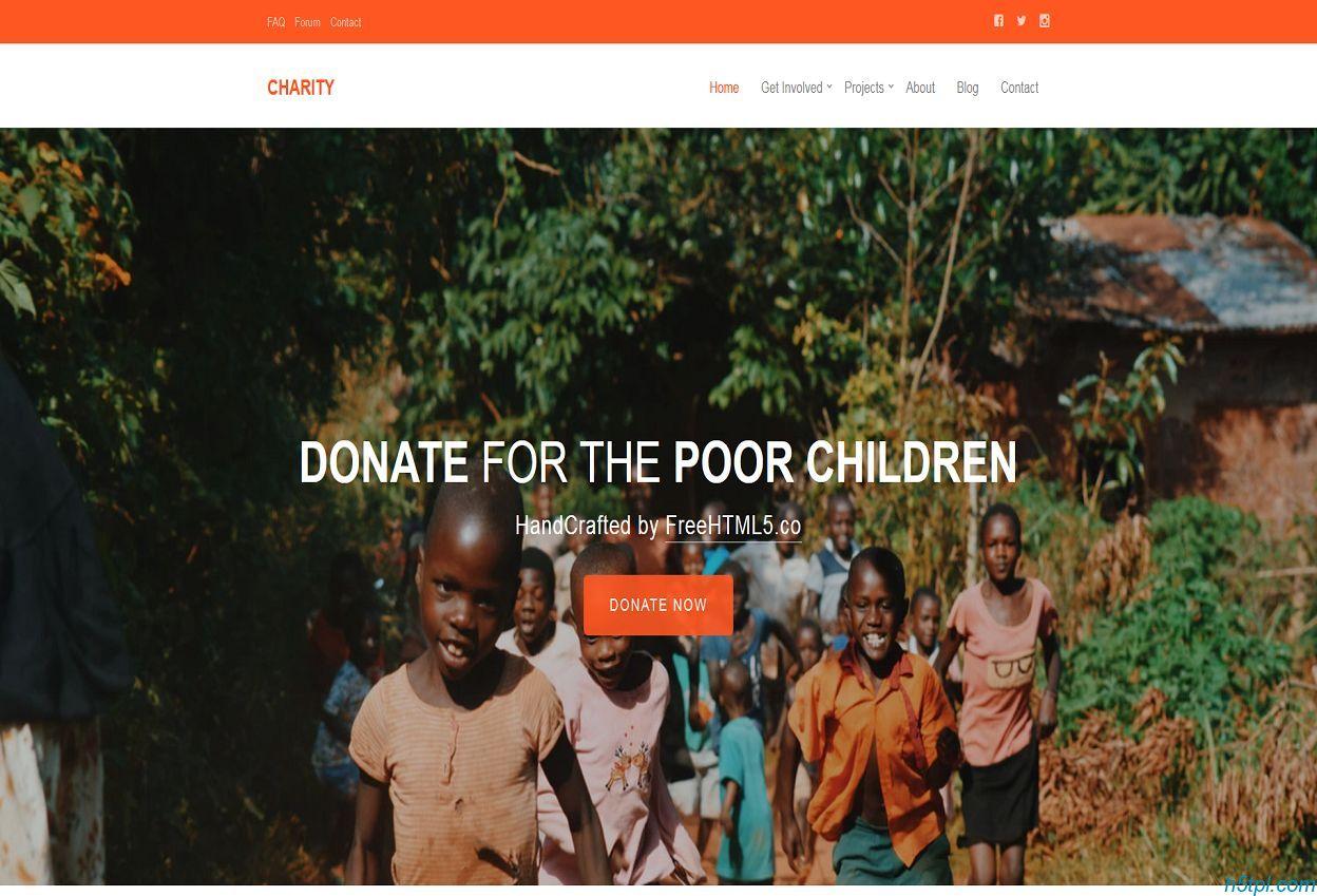 橙色大气儿童公益组织企业官网模板