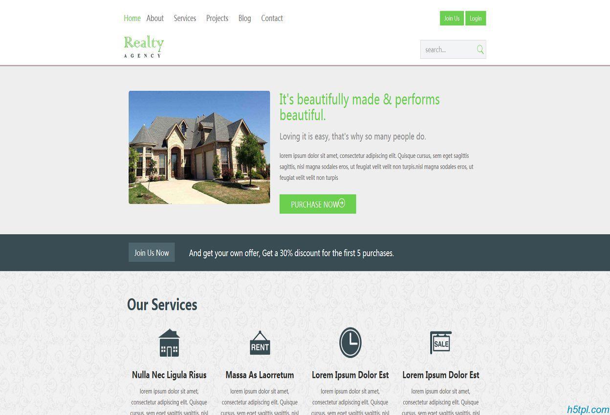 房屋建设设计公司CSS模板是一款适合房地产企业网站模板