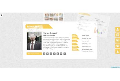 黄色css3炫酷个人web简历模板,适合作为个人作品,设计师简历、作品的展示网站模板