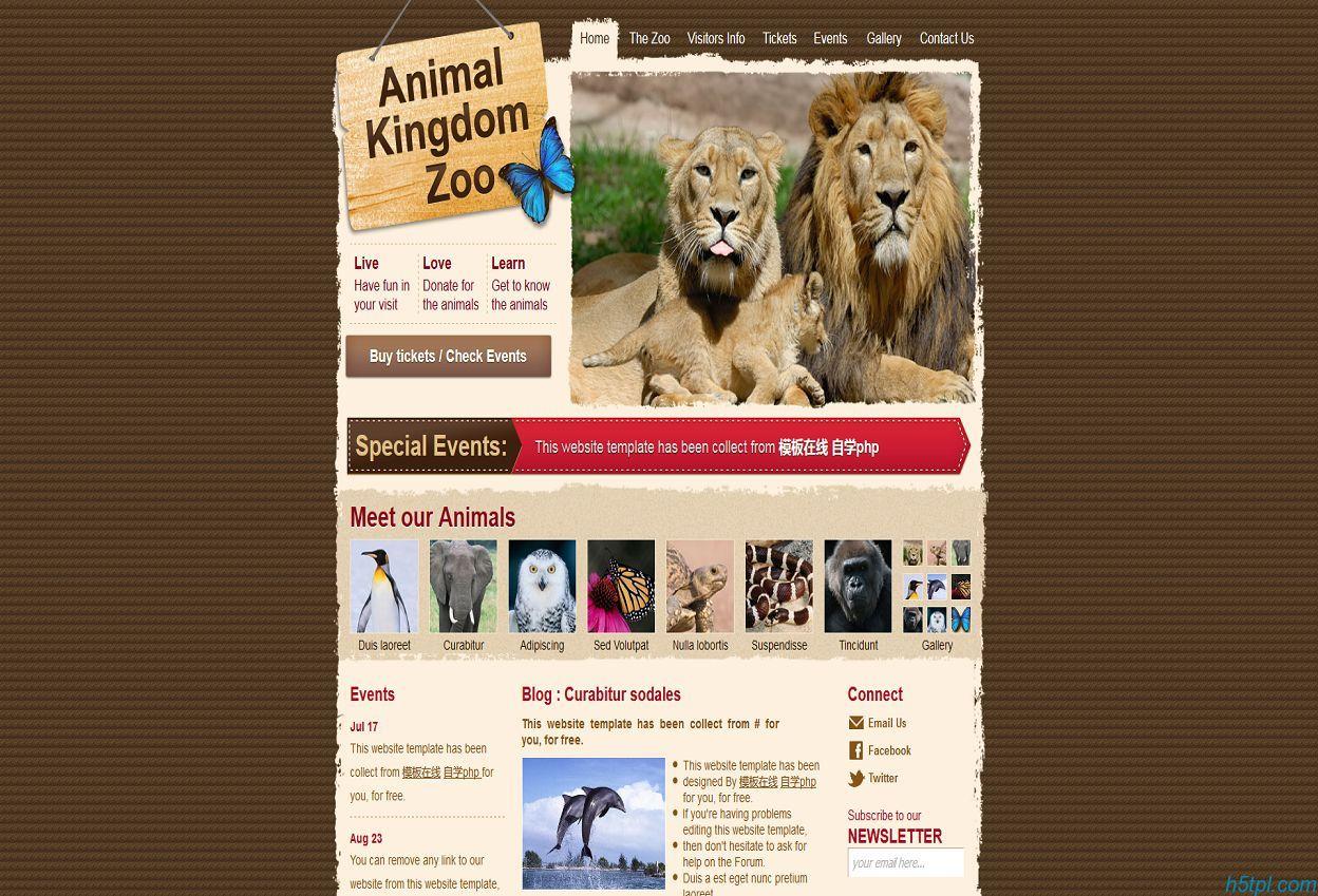 棕色纹理撕边动物园企业网站模板