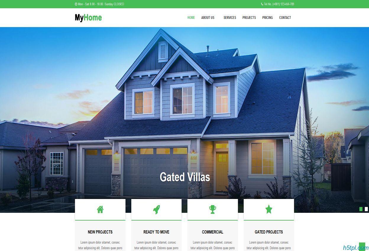别墅中介公司网站模板是一款绿色清爽的房地产中介公司网站模板