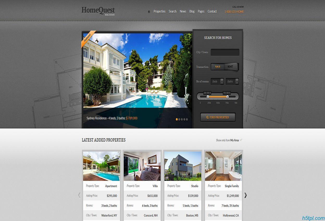 房屋买卖HTML质感模板是一款集出售出租租赁为一体的房屋买卖网站模板