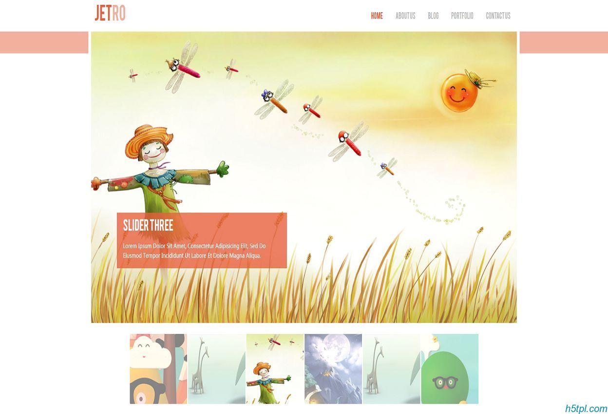 响应式扁平可爱插画风格网站模板