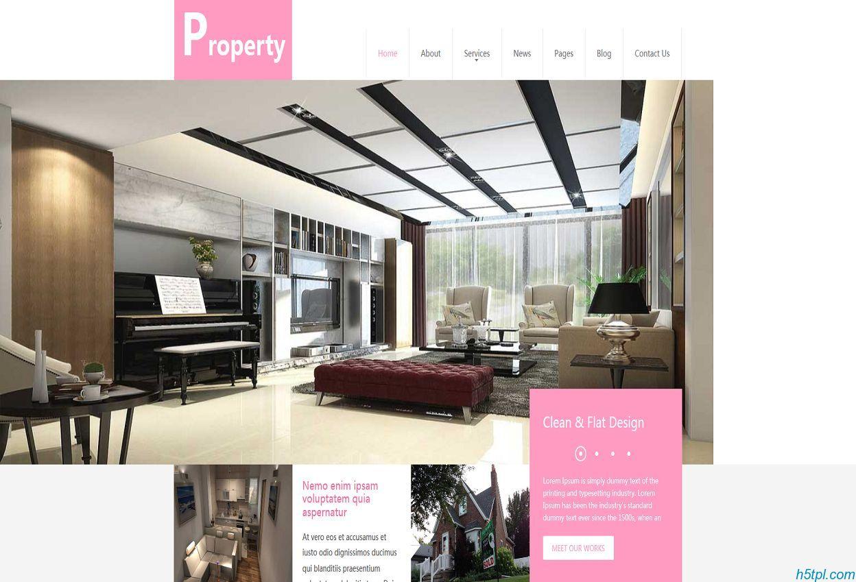 粉色房地产行业网站模板是一款粉红色风格的温馨房子相关网站模板