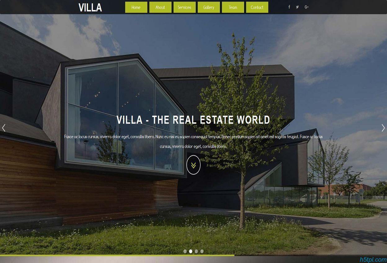 别墅房地产Bootstrap模板是一款大气单页的房地产开发公司网站模板
