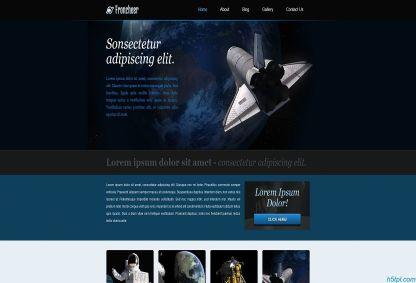 深蓝色大图航天科技探索企业模板