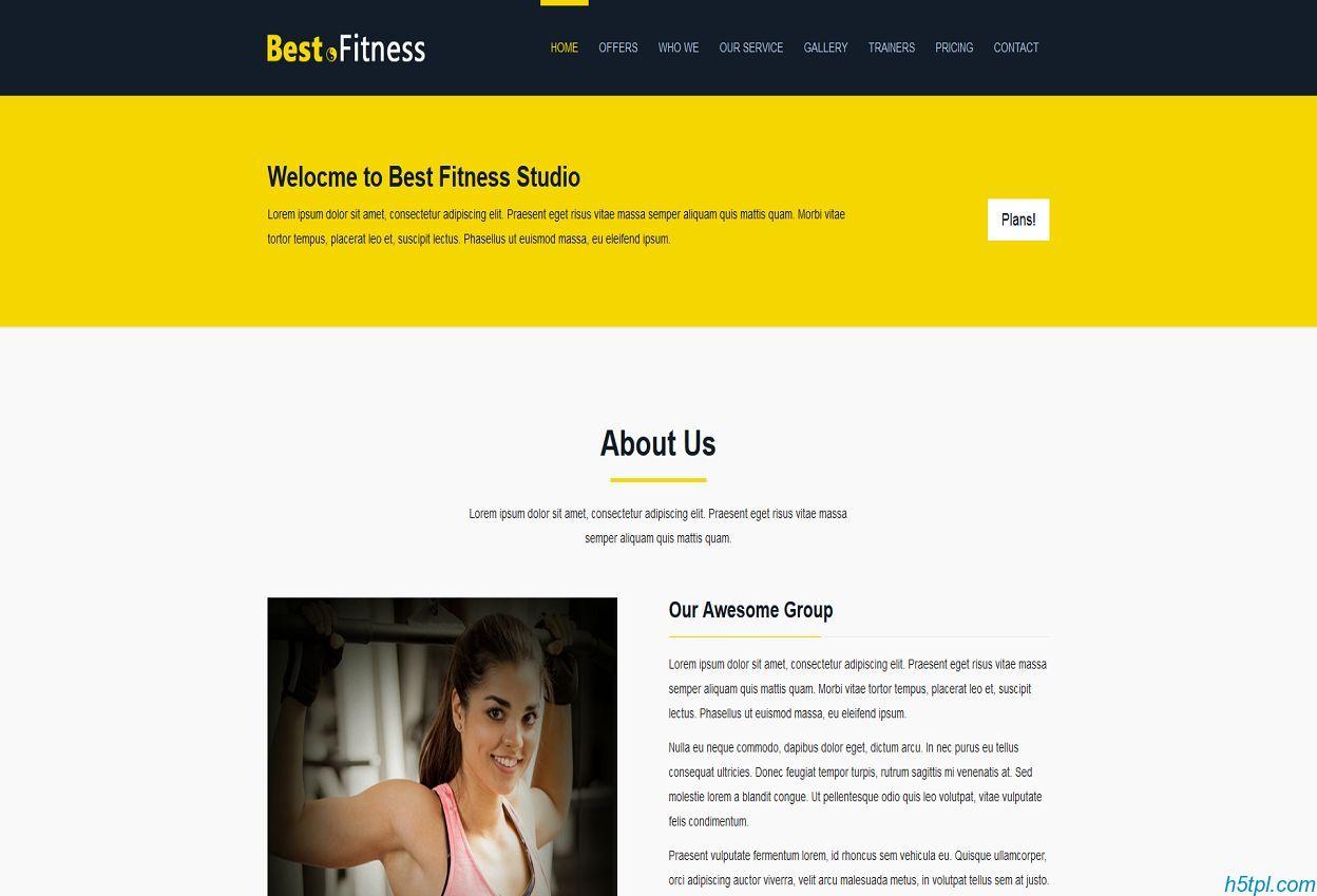 黄色主题健身会所网站模板是一款黄色扁平大气风格的HTML5网站模板下载