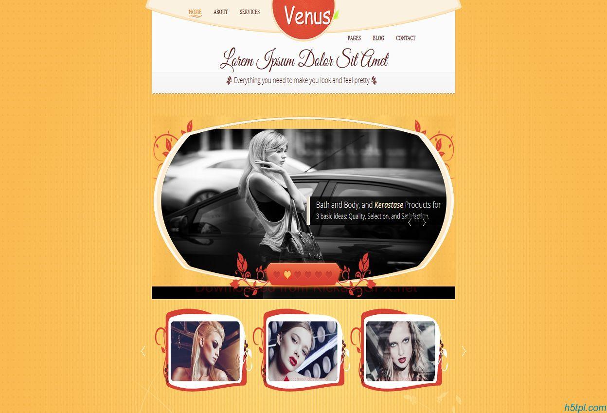 维纳斯美容中心CSS模板是一款高端商务女士美容spa会所网站模板