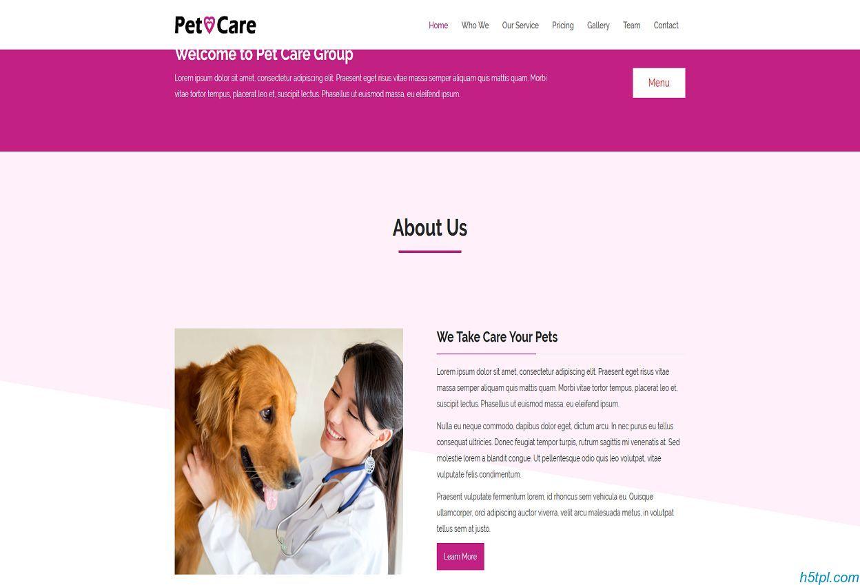 宠物医院加盟店官网模板是一款大气风格宠物护理网站模板