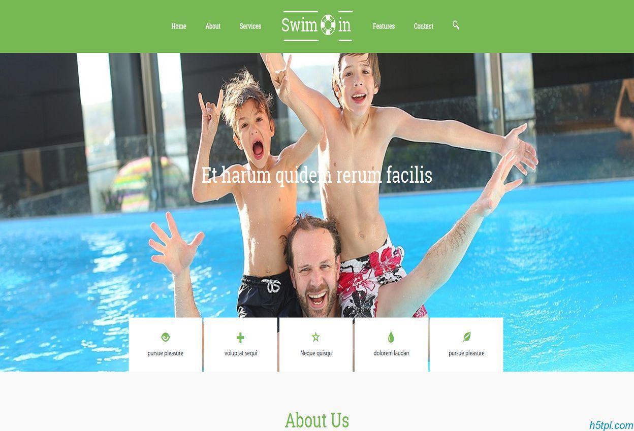 儿童游泳馆网页模板是一款html5模板