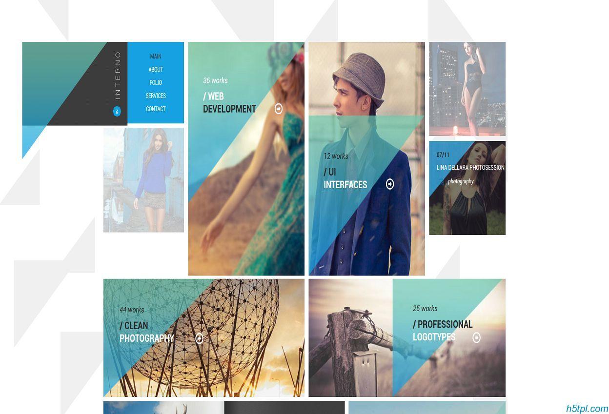 瀑布流排版风格网站模板是一款适合模特服装展示网站模板
