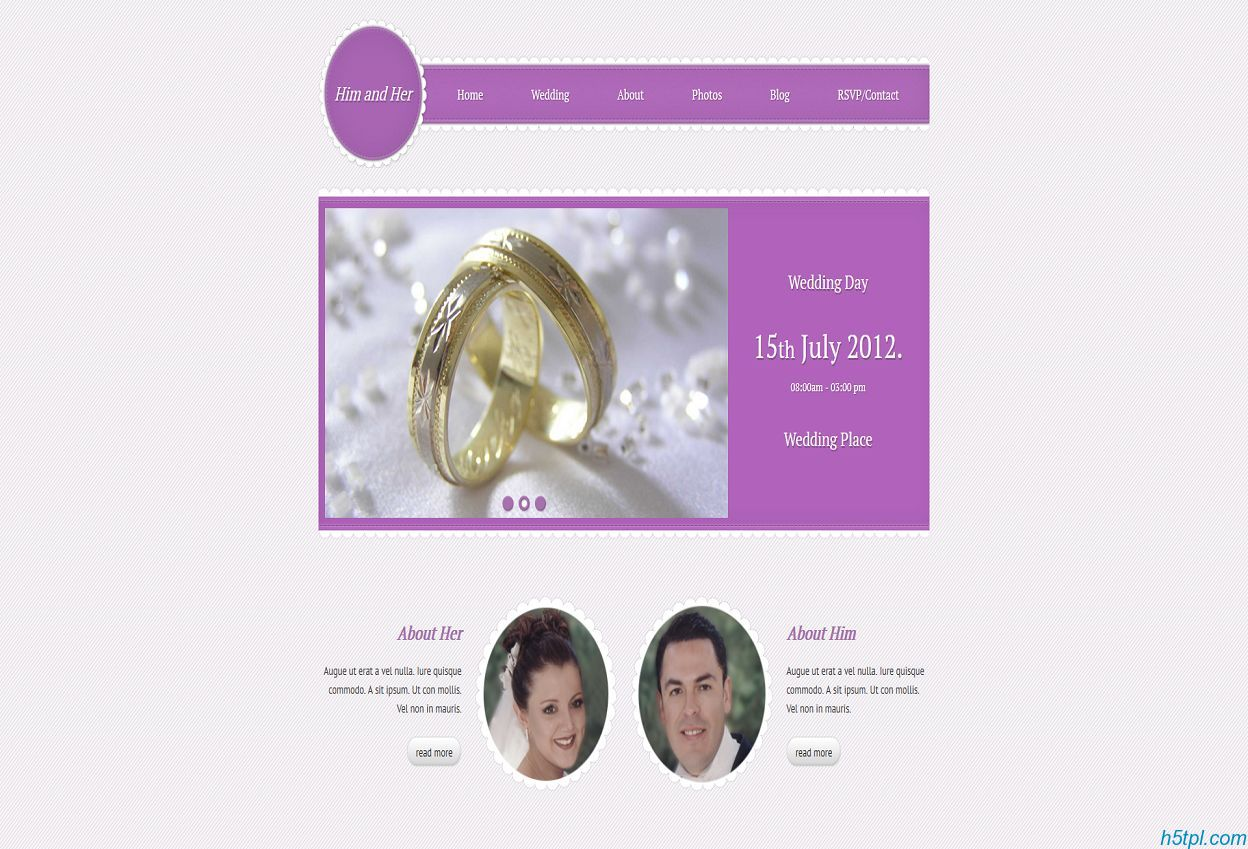 紫色漂亮的恋爱结婚wedding网站模板