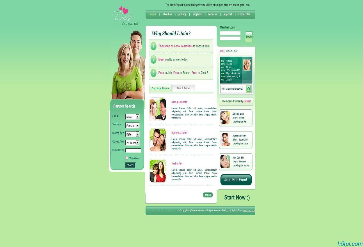婚恋交友类型网页CSS模板
