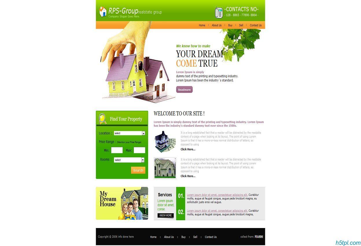 绿色房屋出售中介网页模板