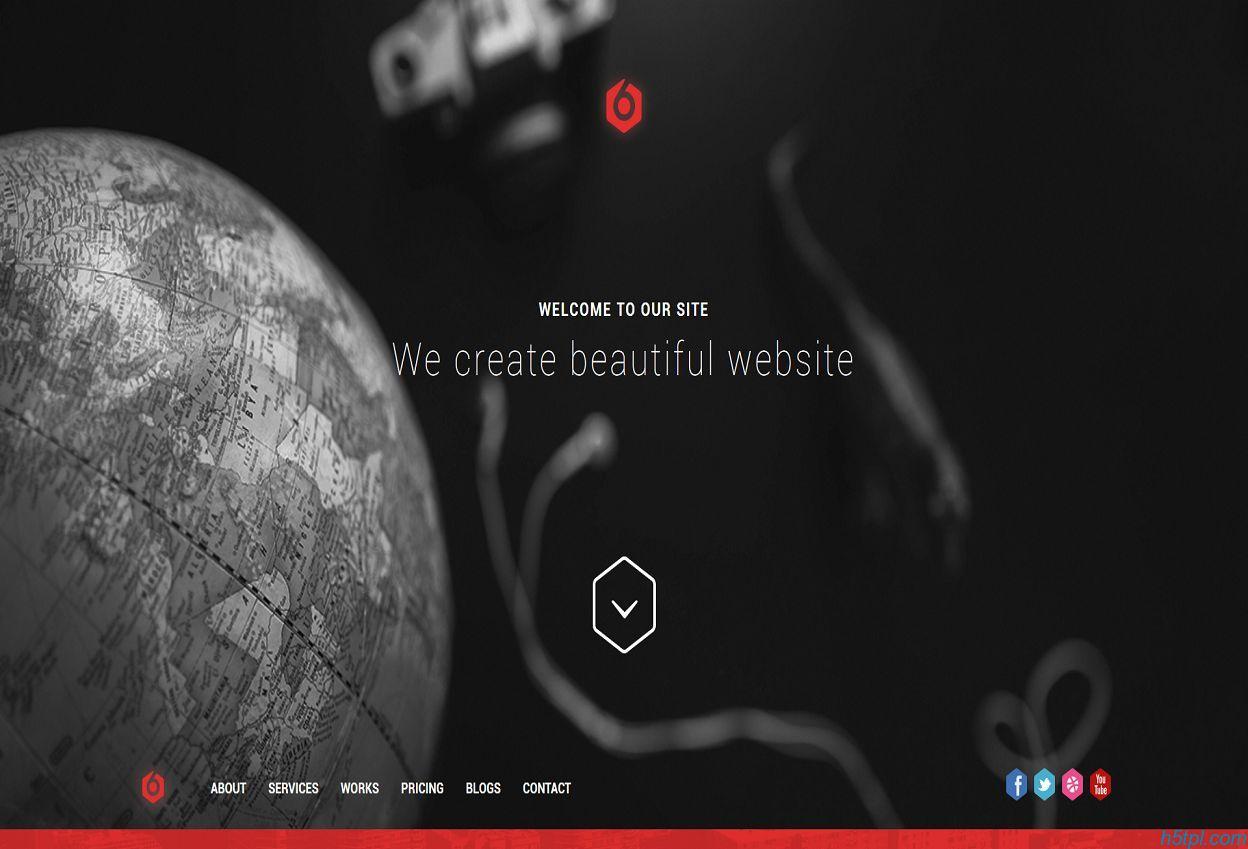 黑色风格设计公司单页模板是一款黑色跟深红色搭配的超质感单页网站模板