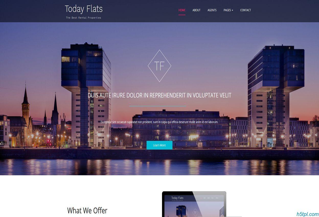公寓房地产公司网站模板是一款宽屏大气房地产官网单页模板