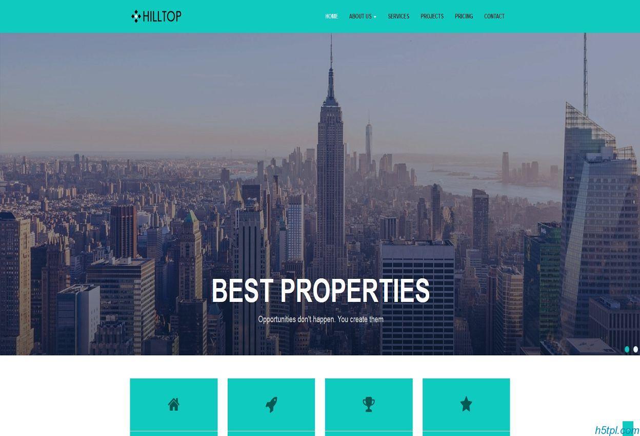 宽屏大气写字楼网站模板第一款采用HTML5制作的跟房屋房地产相关网站模板