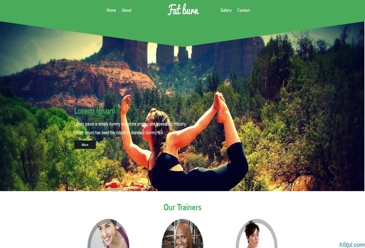 绿色风格健身html5模板是一款适合健身会所健身房锻炼网站模板下载