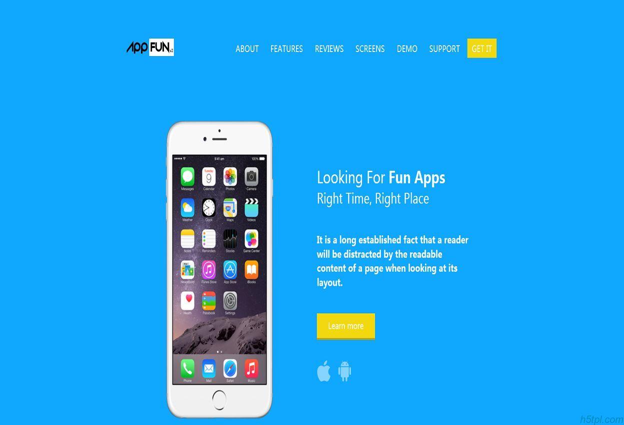 蓝色_互联网_官网_企业_响应式_bootstrap_客户端_项目展示_app应用