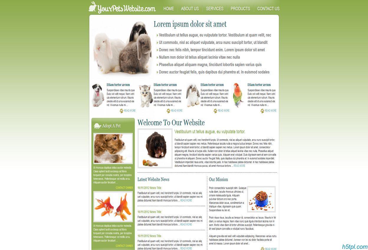 绿色迷你宠物世界网站模板下载