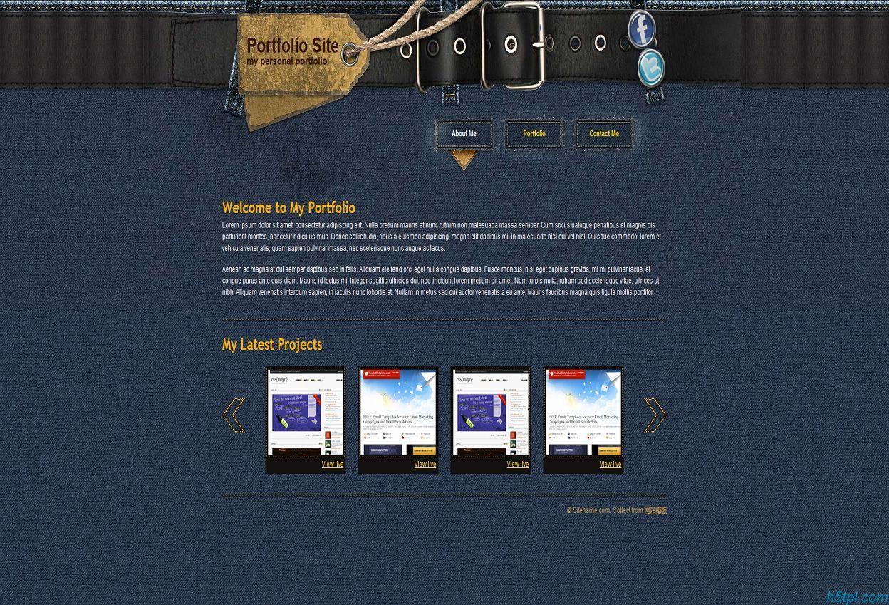 蓝色牛仔布服装企业网站模板免费