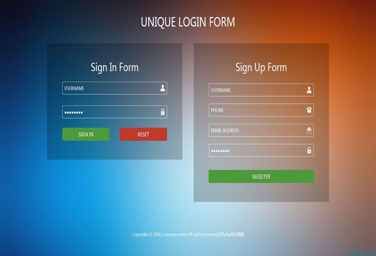 网站透明表单模板下载是一款HTML网站常用的登录注册表单模板