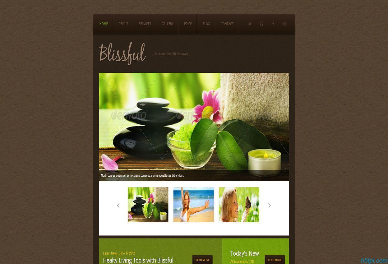 美容养生会所网站模板是一款棕色风格的美容养生馆网站模板