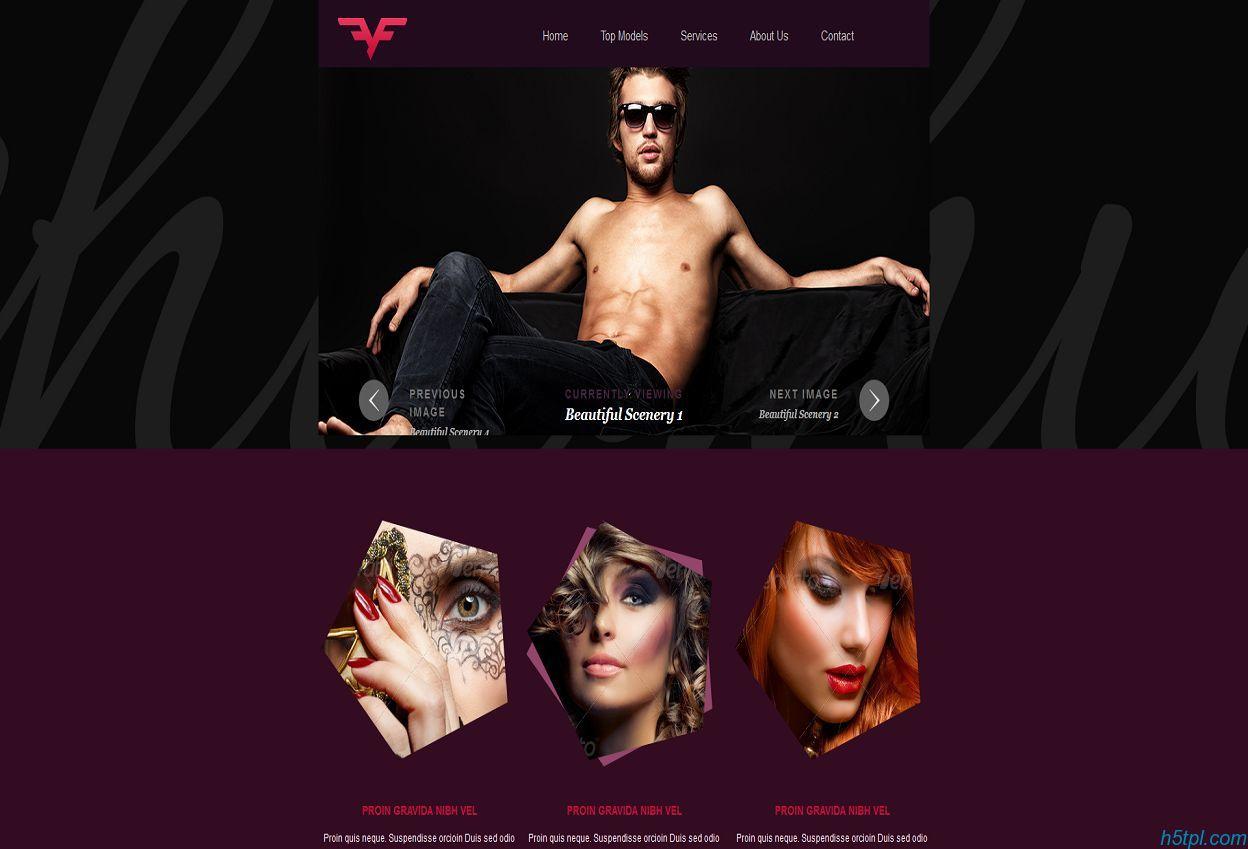 暗紫色漂亮时尚美容造型html5模板