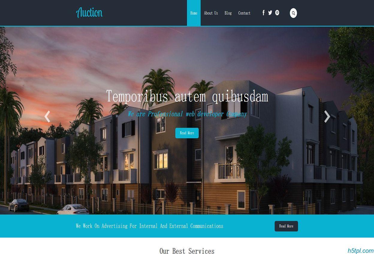 房地产楼盘展示网站模板是一款适合房地产开发商官网网站模板