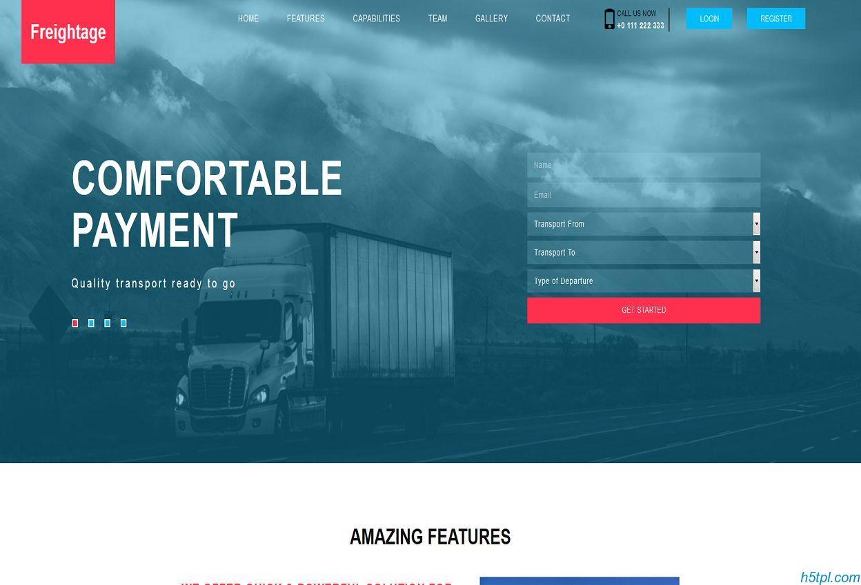 货物运输企业网站模板是一款单页html5网站模板