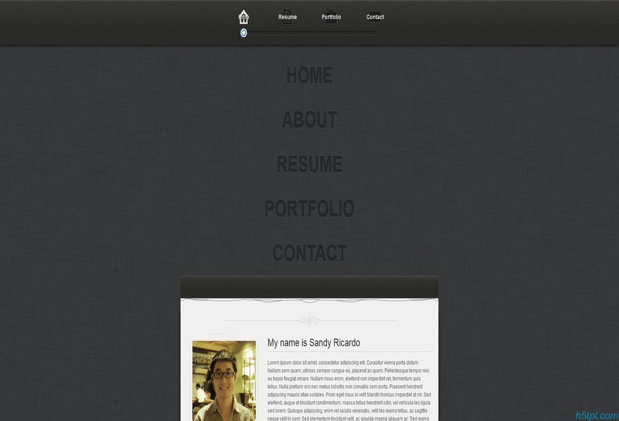 黑色皮具质感设计师web简历模板(4色)_黑色