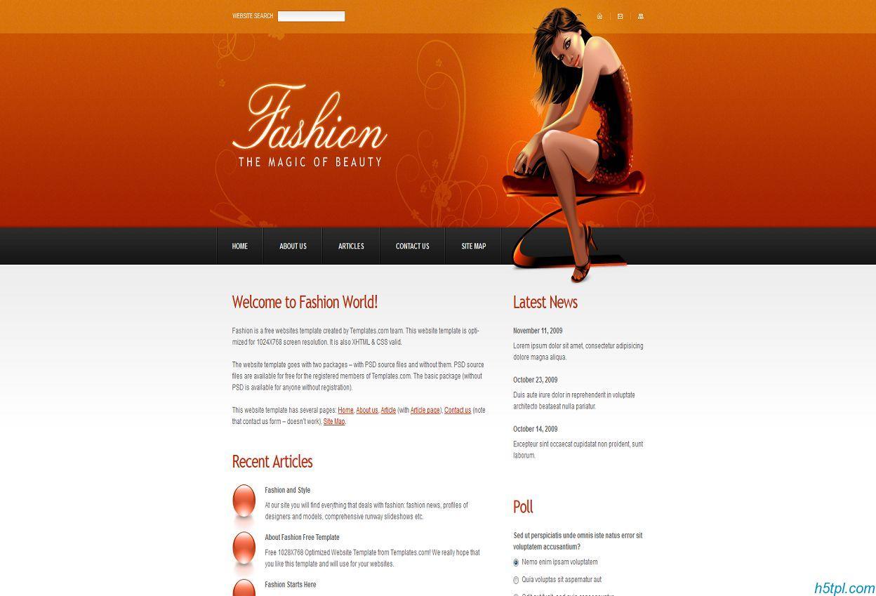 橙色花纹背景性感少女交友企业模板