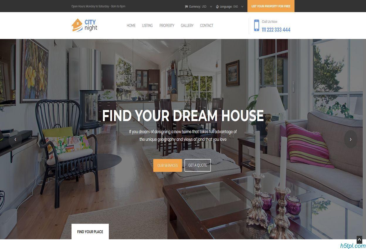 房地产租房售房HTML模板里面包含5个子页面,适合房地产公司网站模板